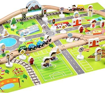 Juego de viaje en tren y carretera, juego de juguetes de madera Juego de carro de