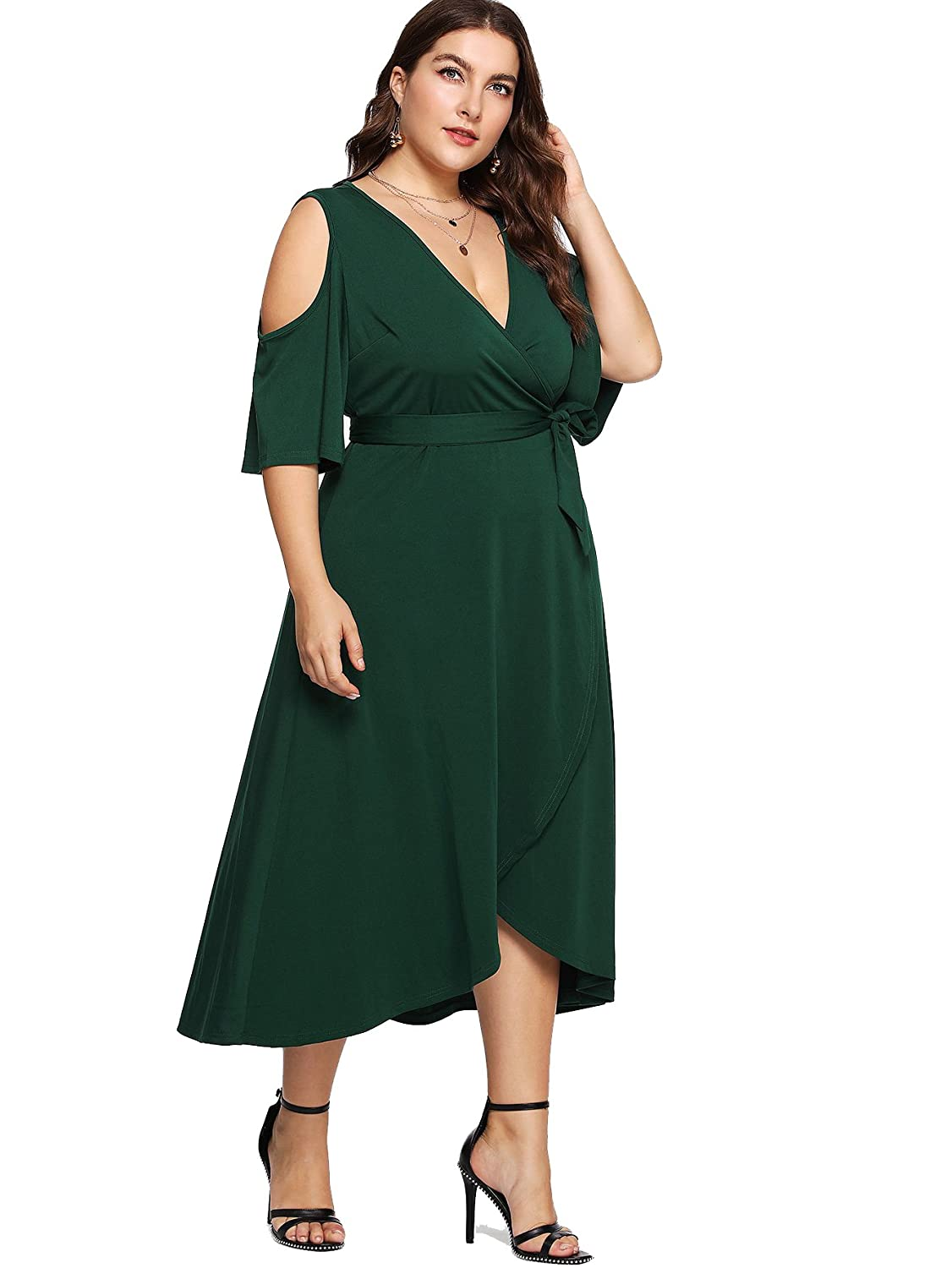 88b37fe36c25 Milumia Plus Size Cold Shoulder Wrap V Neck Empire Waist High Low Summer  Short Sleeves Party Midi Dress at Amazon Women's Clothing store: