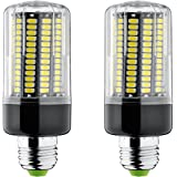 Bogao E26/E27 156 LED 5736 SMD 15W LED Corn Light,Replacement Incandescent Bulbs, Energy Saving Home Light Bulbs Lamp with Cover 1300 Lumens,AC220V, No-Dimmable (2 pcs, white)