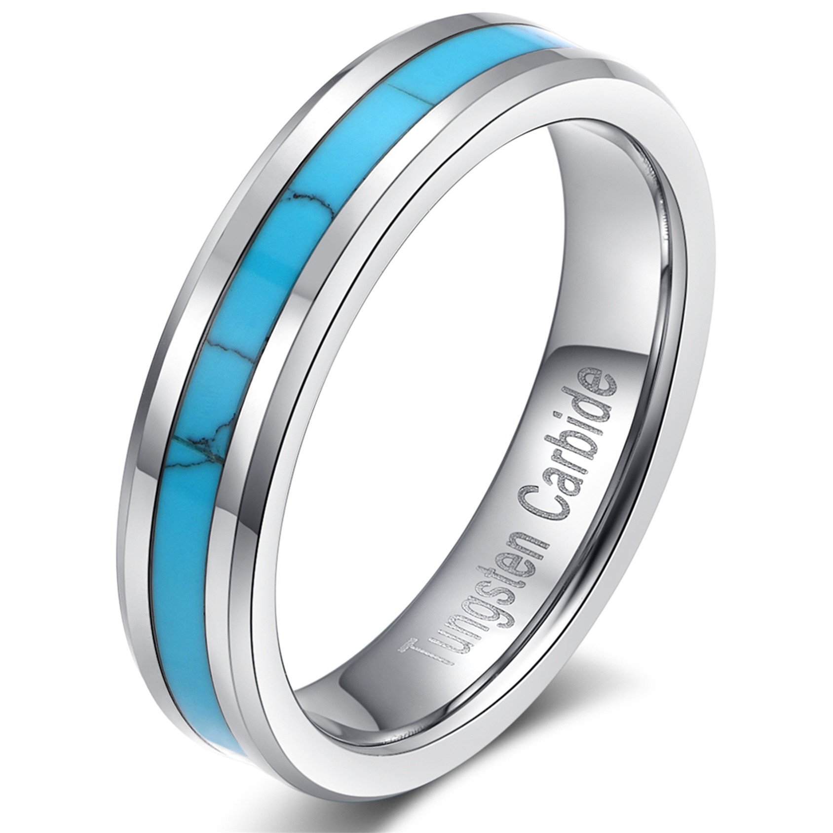 Silver Tungsten Carbide Vintage Turquoise Wedding Engagement Jewelry Band Ring for Women 6mm Comfort Fit Size 5