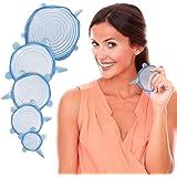 Splink Silikon Deckel BPA-frei Stretch Lids dehnbar, flexibel, wiederverwendbar Frischhalte-Deckel für Tassen, Töpfe, Schüsseln(Set 6 Stück))