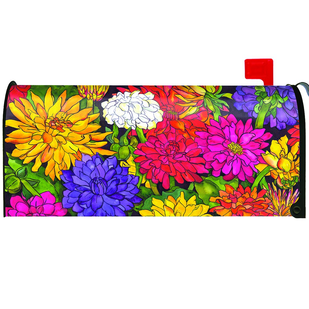 Toland Home Garden Dizzy Dahlias Colorful Summer Flower Magnetic Mailbox Cover
