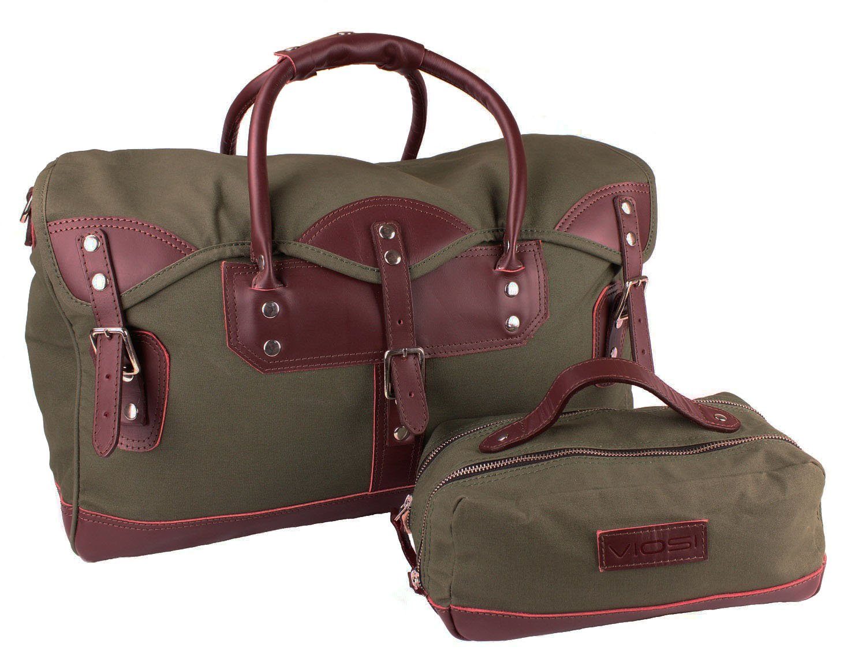 Viosi Balboa Leather Waxed Canvas Weekender Duffel Bag with Matching Toiletry Bag [Hunter Green] by Viosi (Image #1)