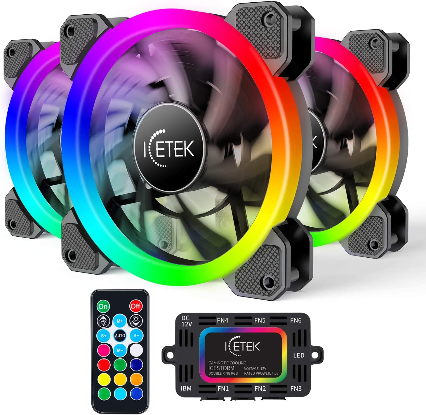 RGB Case Fans 3 Pack, GIM 3In1 Kit LED(366 Modes with Controller and Remote) PC Computer Case 120mm Fan RGB, Reinforced Quiet Fan Blade Design, Adjustable Colorful Cooling Cooler