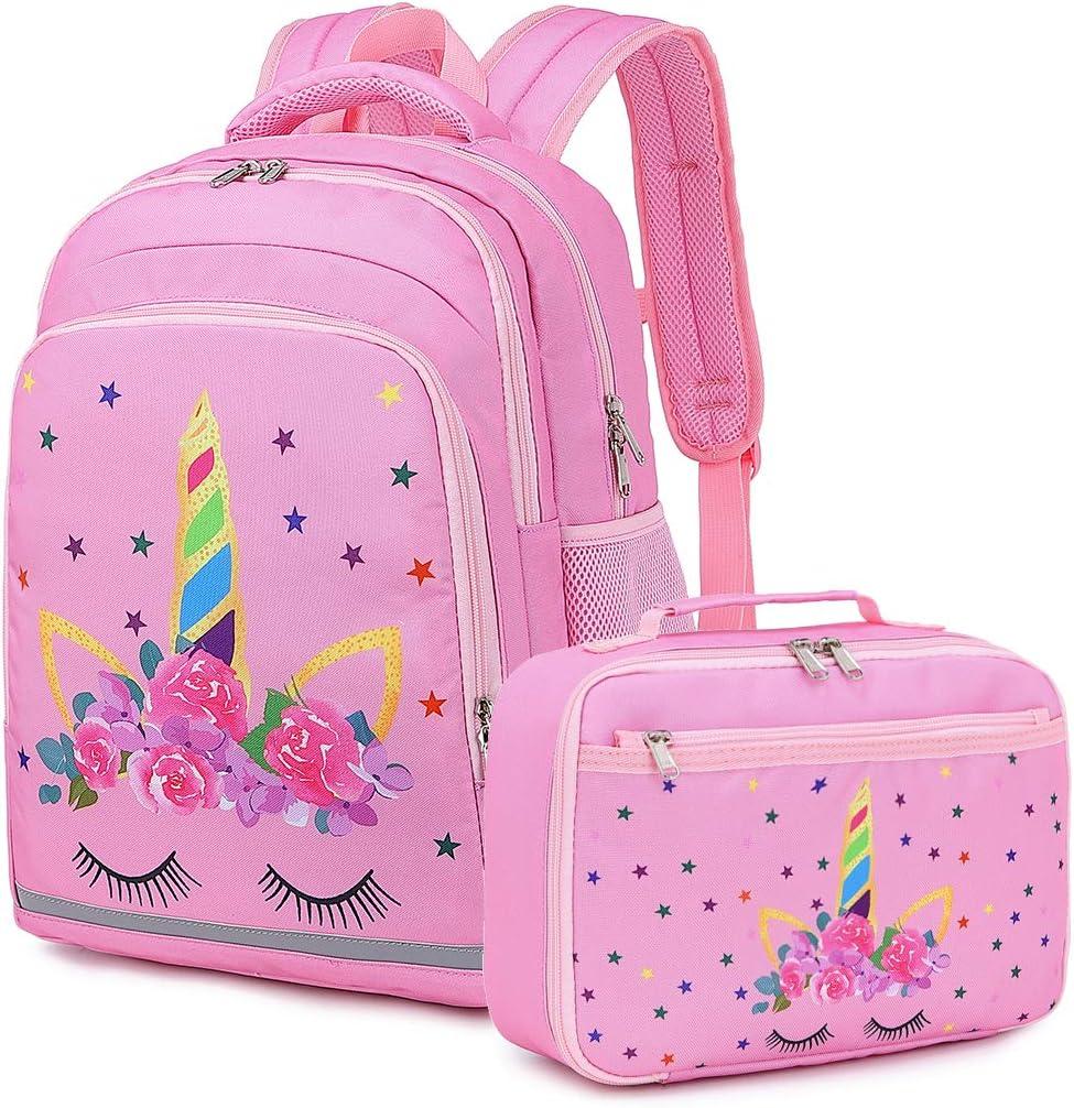 Water blue - Fairy tale unicorn 2pcs Girls Backpack Elementary Kids Fairy Bookbag Girly School bag Children Pencil Bag