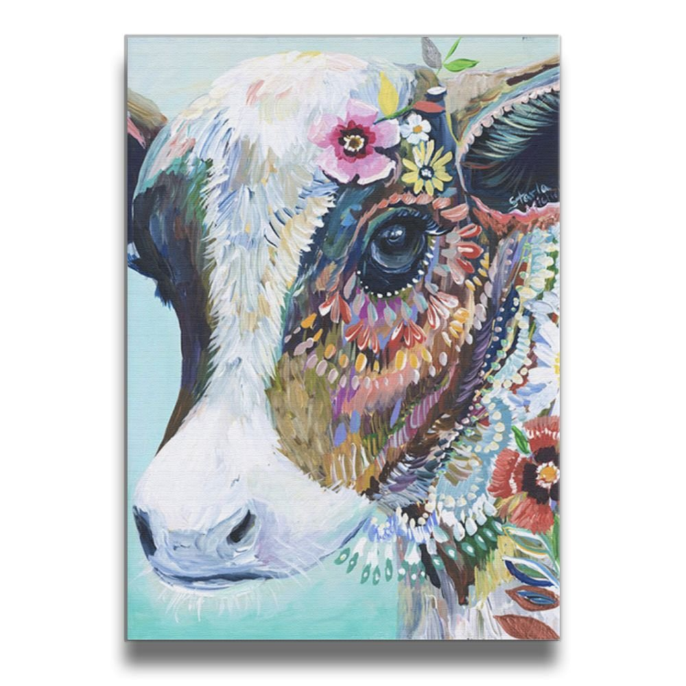 Martoo-store Art Colorful Animals Cow funny Decorative Artwork Abstract Oil Paintings On Canvas Wall Art Ready To Hang For Home Decorations Wall Decor, Pictures For Living Room