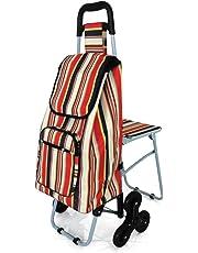Lifemax Leisure - Carrito para la compra (con asiento y sistema de 6 ruedas para