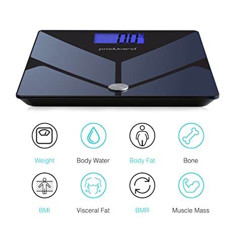 bbca24518ff2 Witfit Bluetooth Smart Scale - Body Fat, BMI, BMR, Body Water, Bone Mass  and Muscle Mass...