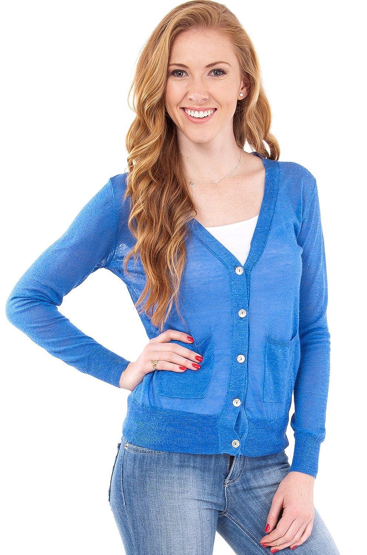 Blue Ladies Sheer Knit V-Neck Button-down Long Sleeve 2 Pocket Cardigan