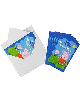 Coolmp Lote De 6 Tarjetas De Invitación Con Sobres Peppa Pig