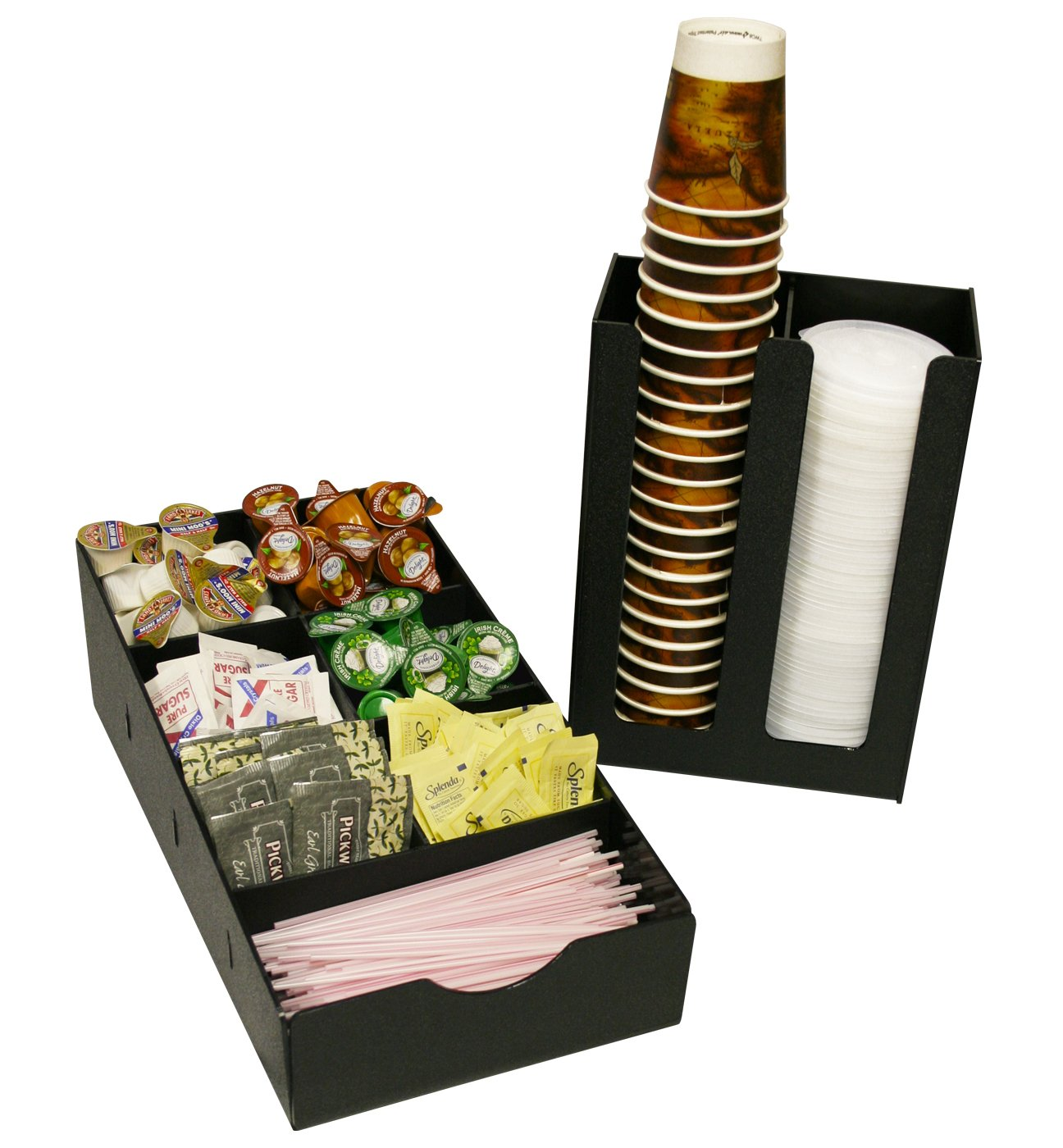 Coffee Organizer and Cup, Lid Holder 2 Piece Combo, One Price. Can be used Separately or Together. Perfect for Organizing Office Breakrooms or Customer Coffee Service. Only 8 1/2'' Wide. Made in the USA! by PPM.