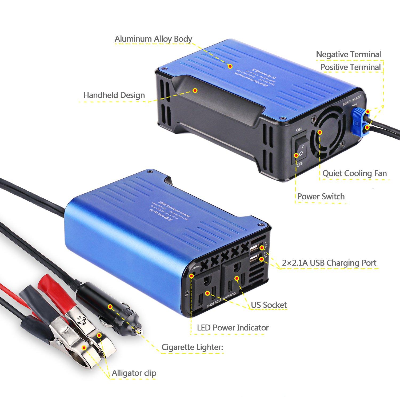 BASEIN 300W Car Converter 12V DC to 110V AC Converter with 4.2A ...