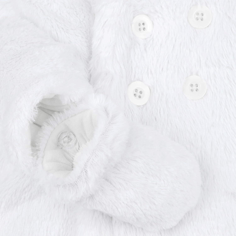 Metzuyan Unisex Baby Fluffy Pram Suit with Hood /& Mittens White Newborn