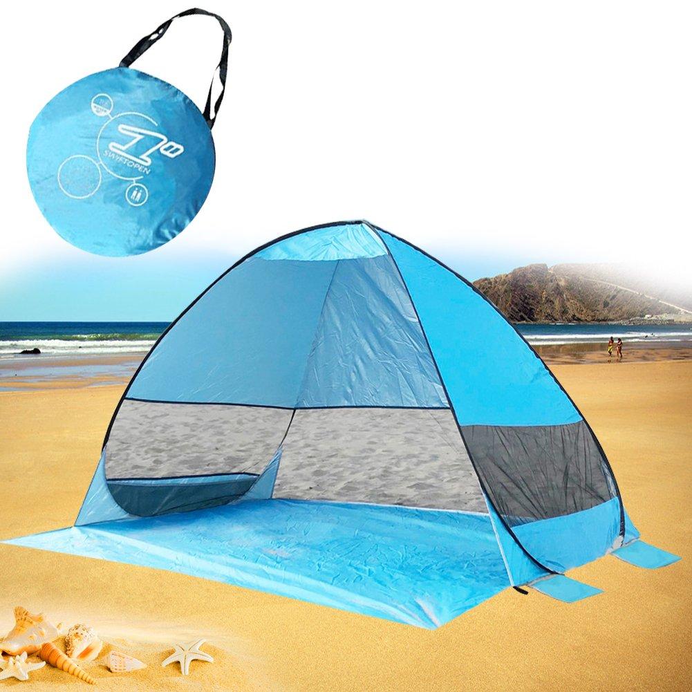 MG MULGORE Pop Up Plage Tente Sun Shelter Extérieure Léger Pliable Anti UV Portable Portable Cabana pour 3 ou 4 Personne big-tent