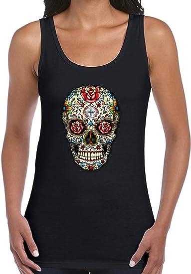 amazon com vizor women s sugar skull rose eyes summer tank tops
