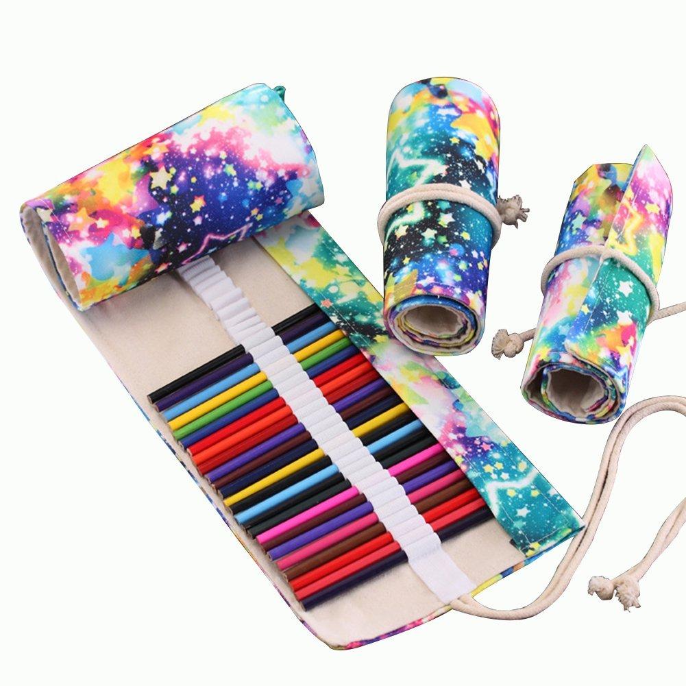 Geryy 1PC astuccio 36matite colorate cielo stellato tela roll Pen case Brush organizer per cosmetici borsa per scuola ufficio lavoro 43 * 20cm 36 Slot