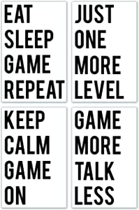 Spitzy's Gaming Posters Room Decor, 11x17 Inches, Set of 4 Poster Designs, Wall Decor Featuring Funny Gaming Wall Art, Printed Teen Decorations for Boys and Girls