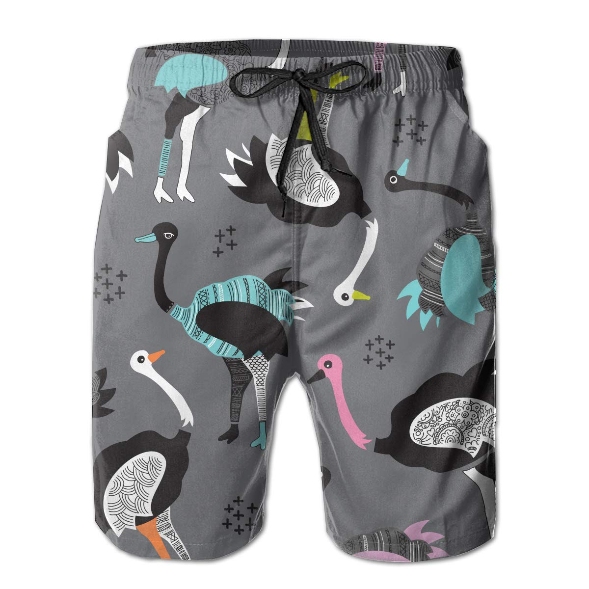 FRS Ltd Colored Ostrich Mens Quick Dry Swim Trunks Beach Board Short Elastic Waist Vacation Surfing Shorts