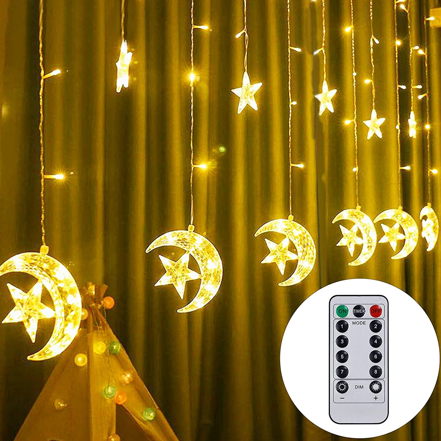 Twinkle Star 138 LED Star Moon Curtain String Lights, Window Curtain USB Powered Lights with Remote Control, 8 Modes Decorations for Ramadan, Christmas, Wedding, Party, Home, Patio Lawn, Warm White