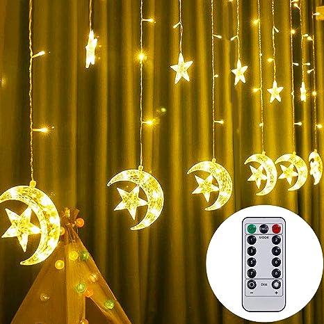 Amazon Com Twinkle Star 138 Led Star Moon Cortina De Luces De Cadena De Luces Para Ventana Cortina De Ventana Con Mando A Distancia 8 Modos De Decoración Para Ramadán Navidad Boda Fiesta