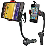 Car Mount, Alpatronix MX100 Universal Charging Dock Station with FM Transmitter, USB Charger Port & 360° Degree Rotating Gooseneck Holder for iPhones, Samsung Galaxy & Other Smartphones - (Black)