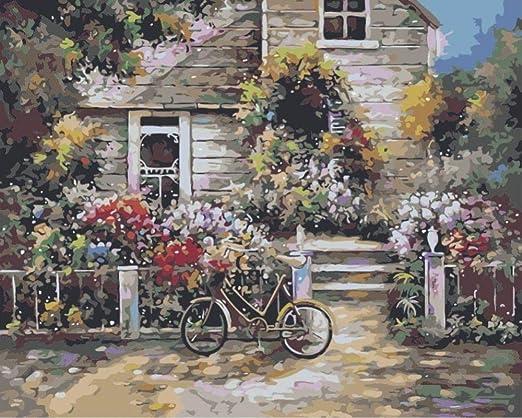 Pintar por Numeros Bicicleta de la casa de las flores Pintura al ...