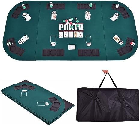 Gaintex - Mesa de póquer plegable, 4 pliegues, 8 jugadores, tapa de mesa y funda de transporte, color verde: Amazon.es: Deportes y aire libre
