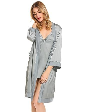 Ekouaer Women s 2 Piece Robe 3 4 Sleeve Silk Bathrobe Set S-XXL at ... bdb8cafca