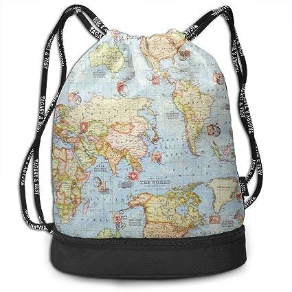 1645c1f19dd5 Amazon.com: Women & Men Drawstring Backpack Atlas World Map Blue ...