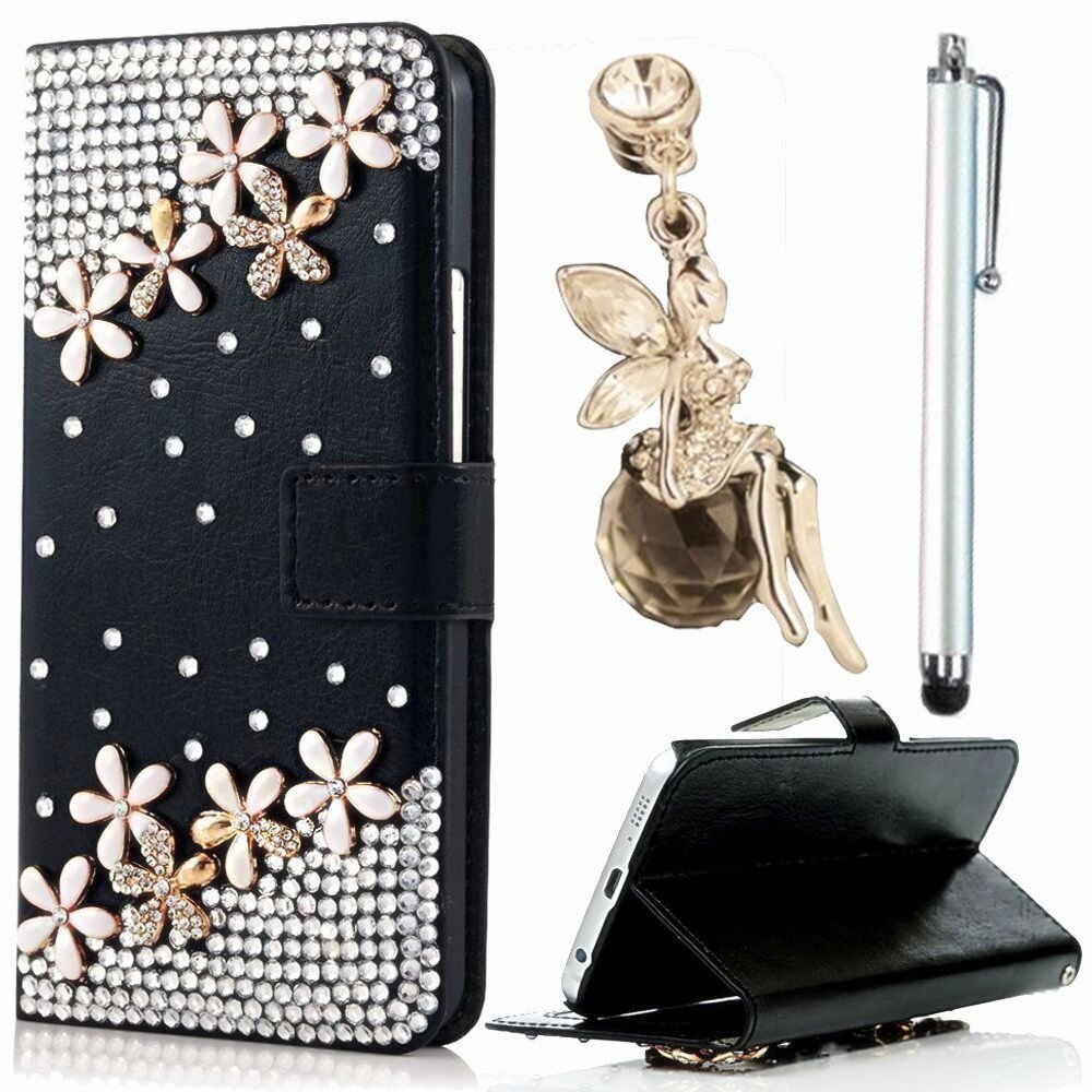 VANDOT J7 2016 Case, 3in1 Accessories Set Flip Folio Cover Wallet Stand Book Style for Samsung Galaxy J7 2016 + Diamond Shining Drop Flower + Pink Protection Powder Flower Pearl Shine Anti-Dust Plug