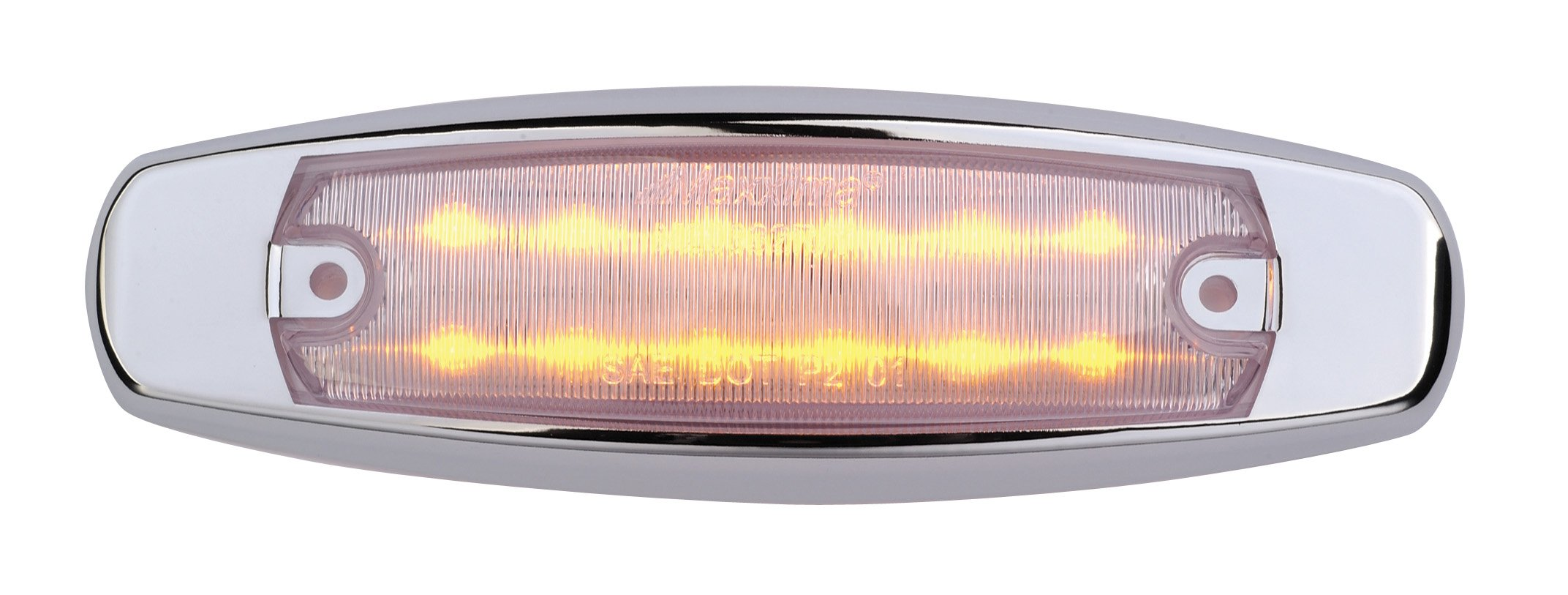 Maxxima M20332YCL Amber 6'' LED Clear Lens Clearance Marker Light with Stainless Steel Bezel