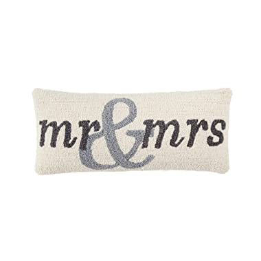 Mud Pie Mrs Wedding Hook Wool Accent Lumbar Pillow Decorative Pillow, White, Grey