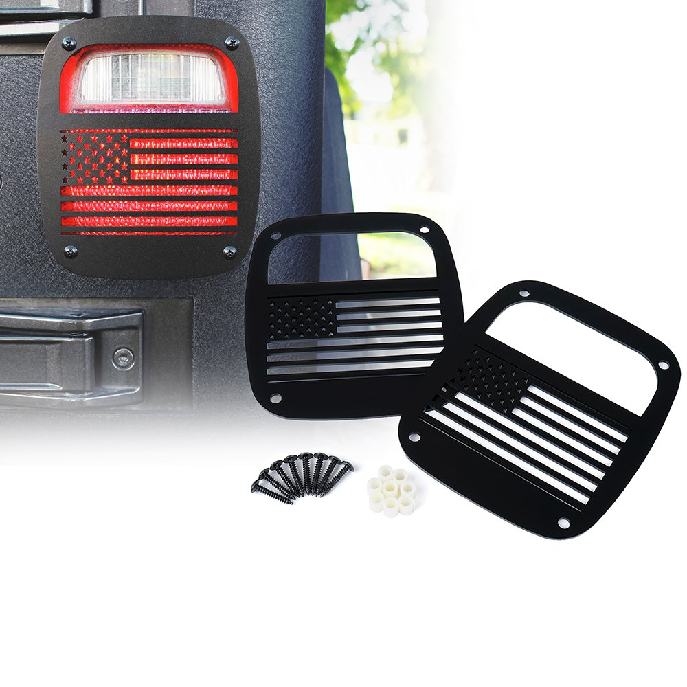 Xprite Matte Series Black Rear Tail Light Protector Cover Guards W/U.S Patriotic American Flag Style for 1985-2006 Jeep Wrangler YJ TJ LJ