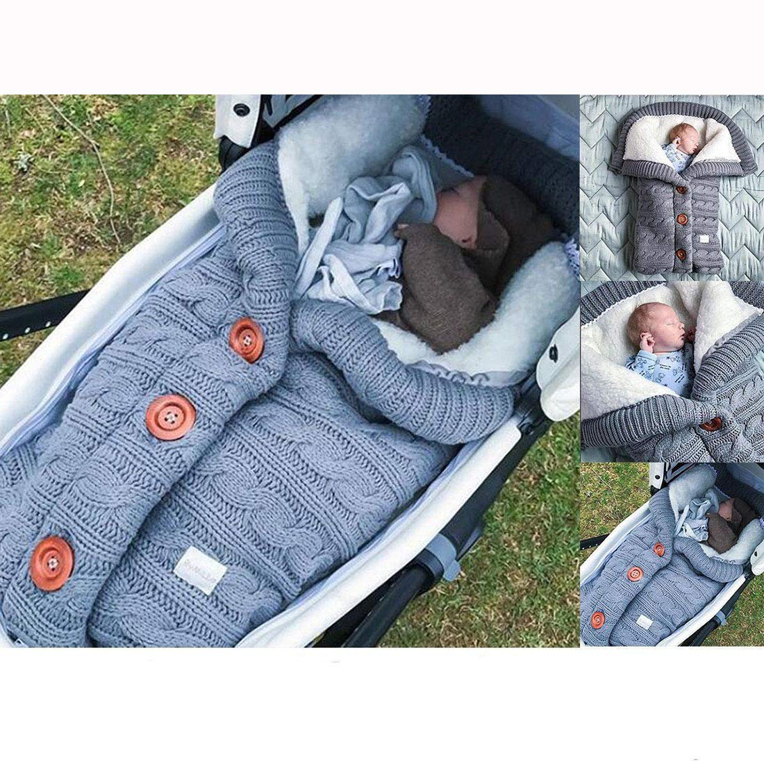 Button Sleeping Bag Baby Outdoor Baby Stroller Sleeping Bag Wool Knit Plus Velvet Thick Warm