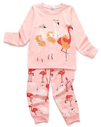 bfc0d838ff992 Tkria Flamant élégant Ensemble de Pyjama Enfant Fille Manches Longues Deux-Pièces  Pyjamas Rose 2