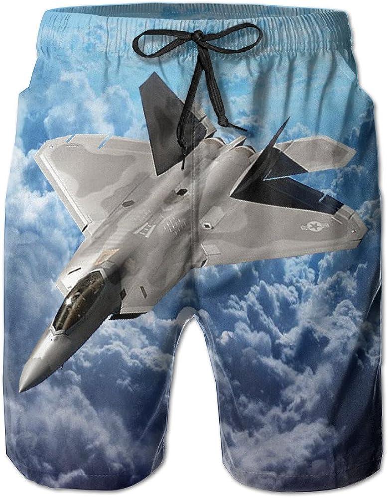 Y/&J Mens F-22 Raptor Fighter Funny Summer Beach Shorts Swimming Trunks Cargo Shorts for Men