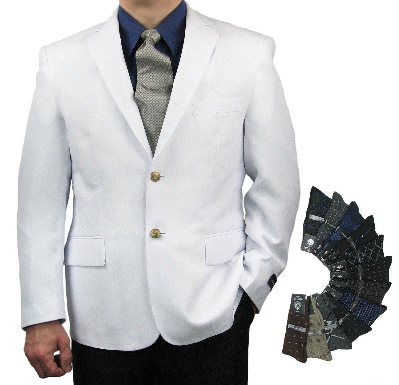 Mens Classic Fit Single-Breasted Blazer & 1 Pair Of Dress Socks - White 44L