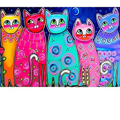 YIPINQUAN Jigsaw Puzzles 300 Pieces for Adults and Kids Colored cat Wooden Puzzle Educational Toys Home Decor Wall Art: Toys & Games