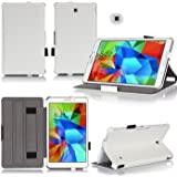 Ultra Slim Tasche Leder Samsung Galaxy Tab 4 8.0 (Wifi/3G/4G/LTE) Hülle weiß Cover mit Stand - Zubehör Etui Tablet PC Samsung Galaxy Tab 4 8 zoll SM-T330/T335 Schutzhülle (PU Leder White) - XEPTIO : Exceptional Case ! Vorbestellen