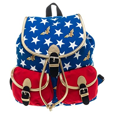 Official Wonder Woman Red White and Blue Knapsack Backpack Bag