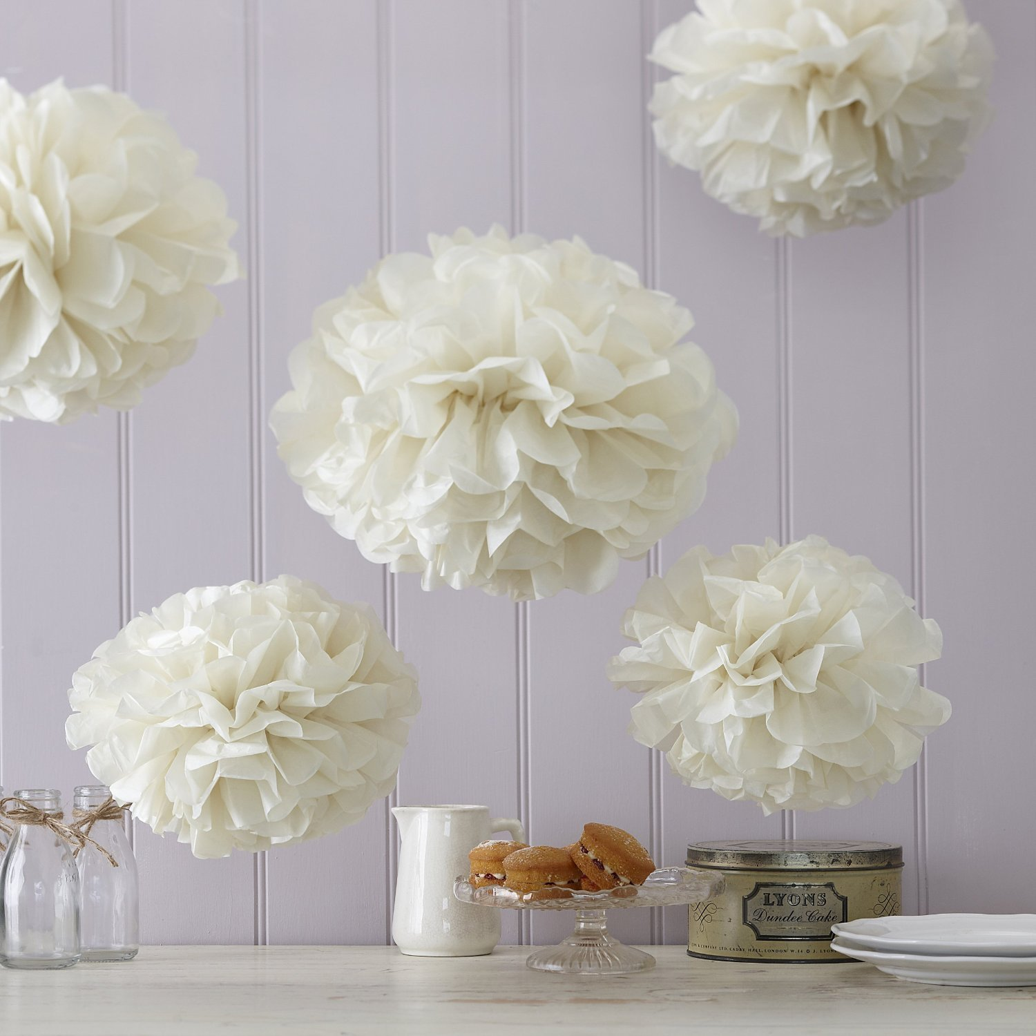 Vintage Lace SRI01861 Sorive Ivory Tissue Paper Pom Poms 5 Pack Wedding /& Party Decorations