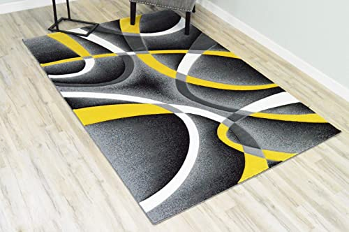 Planet Rugs Premium 3D Effect Hand Carved Thick Modern Contemporary Abstract Area Rug Design 2305 Yellow 5 3 x7 6