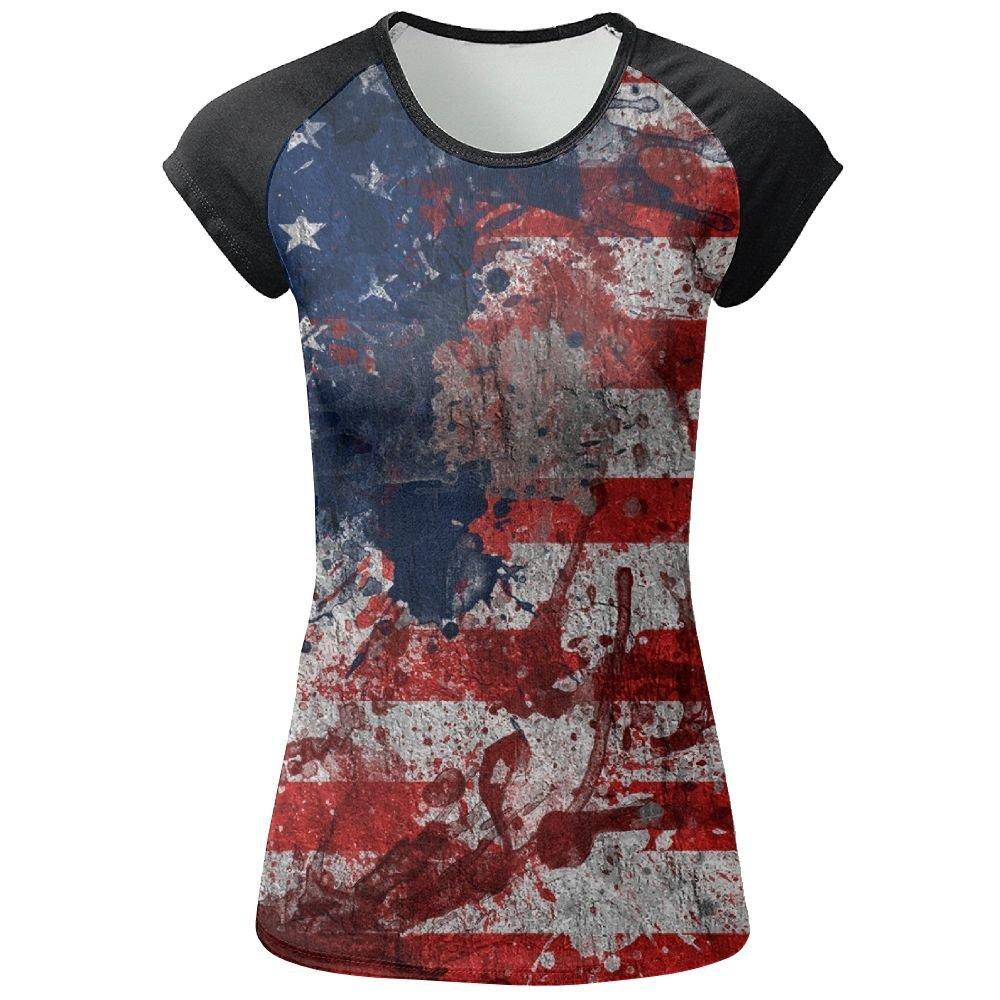 Travel & World USA Flag Woman Summer Fashion T Shirts 3D Printed Tee Top Gift Medium
