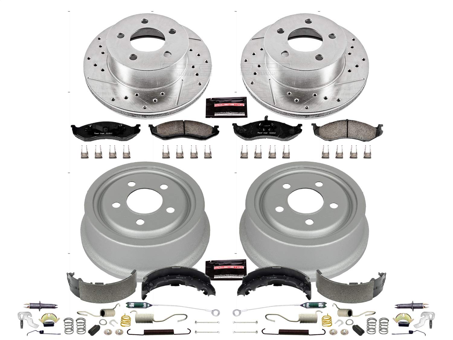 Power Stop K15073DK Front /& Rear Kit with Drilled//Slotted Rotors and Z23 Evolution Ceramic Brake Pads