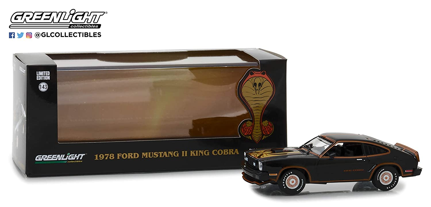 Greenlight 86220 1 43 1978 Ford Mustang II King Cobra Black Gold