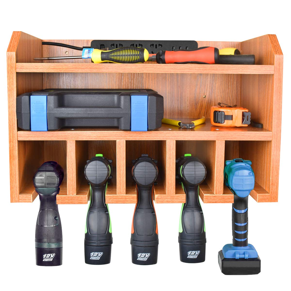 Power Tool Charging Storage - Drill Storage Organization Hanging Drill Wall Holder, Wall Mount Tools Home & Garage Storage System (Need to assemble yourself)