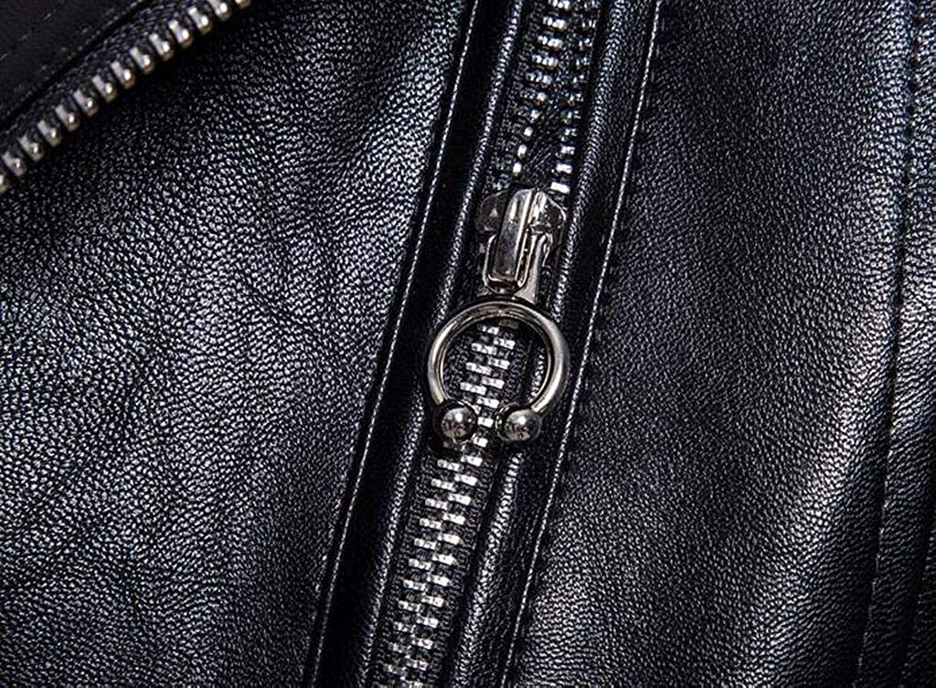 Fensajomon Men Zip up Pu Faux Leather Biker Regular Fit Plus Size Jacket Trench Coat Outerwear