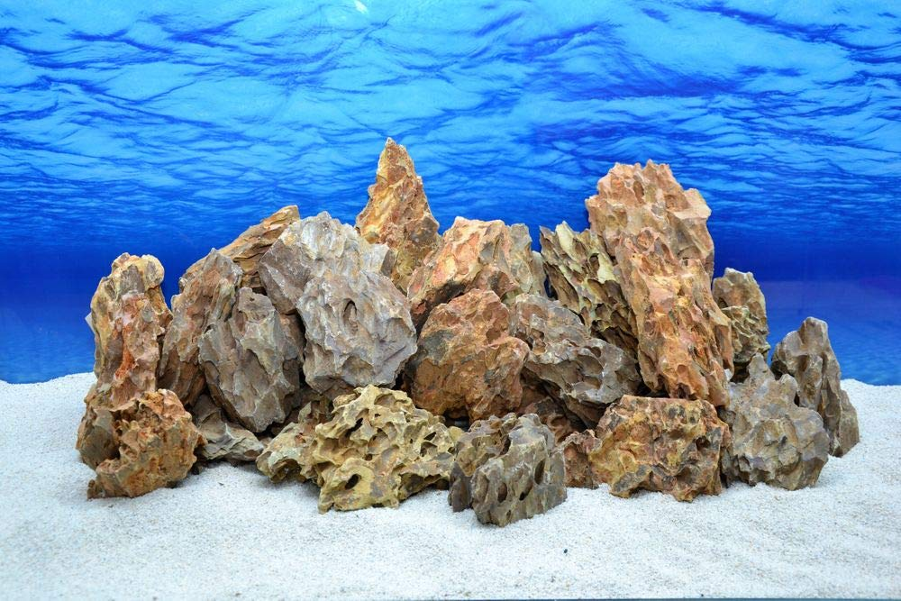 20 kg Original Natural Stones in Desert Sand Look with 40 Towels   62 Decoration Aquarium Ornament Decoration Stone Back