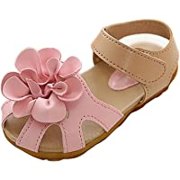 Gaorui Girls' Flower Strap Princess Sandal Soft Flat Walking Dance Dress Shoe