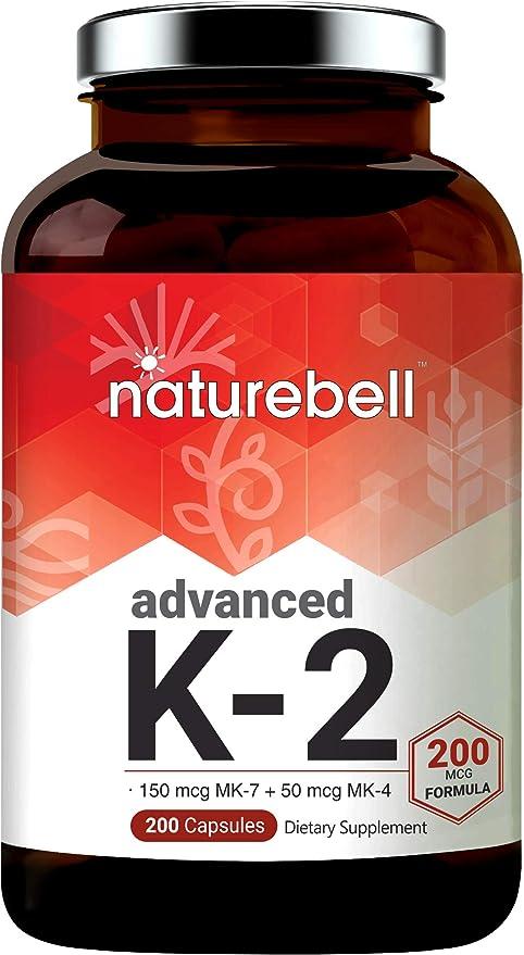 Amazon Com Advanced Vitamin K2 Supplement With Mk 7 Mk 4 200 Mcg 200 Capsules Vitamin K2 Complex Supplement Supports Joint And Heart Health Non Gmo Health Personal Care